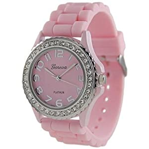 Geneva Platinum Women's 6886.PNK Pink Silicone Quartz Watch with Pink Dial by ShoppeWatch