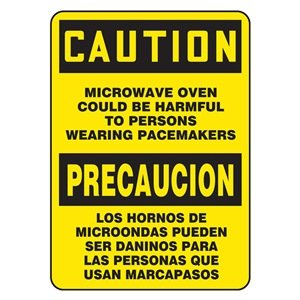 """Microwave Oven Could Be Harmful To Persons Wearing Pacemakers (Bilingual) Sign - 14"""" X 10"""" Adhesive Vinyl"""