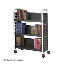 Safco Products Scoot Single Sided 3 Shelf Book Cart (5336BL)