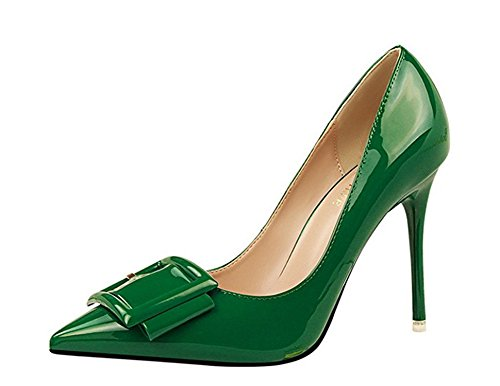Verescha Womens Leather Pointy Toe Stiletto High Heel Dress Pumps Shoes With Buckle Decorations Green Patent Leather39 M EU / 8 B(M) US