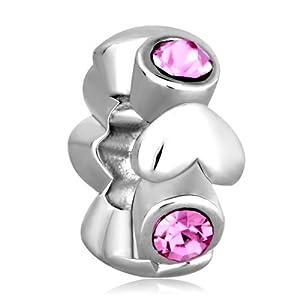 Pugster Silver Tone Oct Birthstone Rose Pink Crystal Spacer Bead Charm Fits Pandora Chamilia Biagi Charm Bracelet