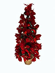 3' Pre-Lit Color Changing Fiber Optic Red Poinsettia Artificial Christmas Tree