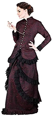 Victorian Dresses- Patterns, Costumes, Custom Dresses Steampunk Victorian Brocade Dinner Blouse $67.95 AT vintagedancer.com