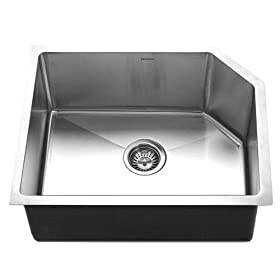 Houzer HSR-2015 Homestead 23-3/4-by-18-3/4-Inch Single Bowl Undermount Stainless Steel Sink with Right Side Prep Sink