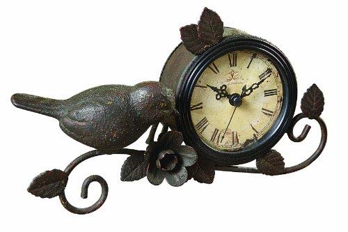 Creative Co-op Shabby Cottage Chic Metal Bird Desk Clock Home Decor 0