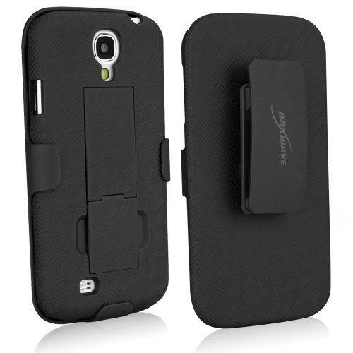 BoxWave Dual+ Galaxy S4 Holster Case - 3-in-1 Case and Holster Combo Includes Protective Case and Belt Holster Clip with Integrated Viewing Stand (Jet Black)
