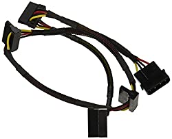 24inch 4pin MOLEX Male to (4) 15pin SATA II Female Power Cable (Net Jacket)