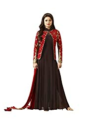 Touch Trends Wine Embroidered Dress Material