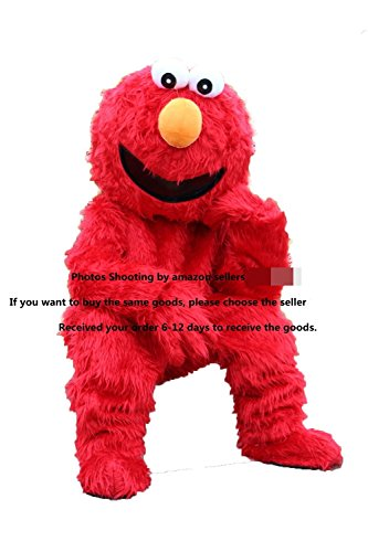 Sesame Street Muppet Red Elmo Mascot Costume Cospaly Cartoon Character adult