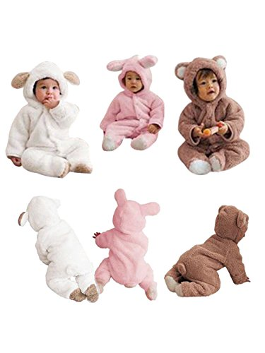 Unisex Baby Fleece Romper Toddlers Winter Rabbit Bodysuit