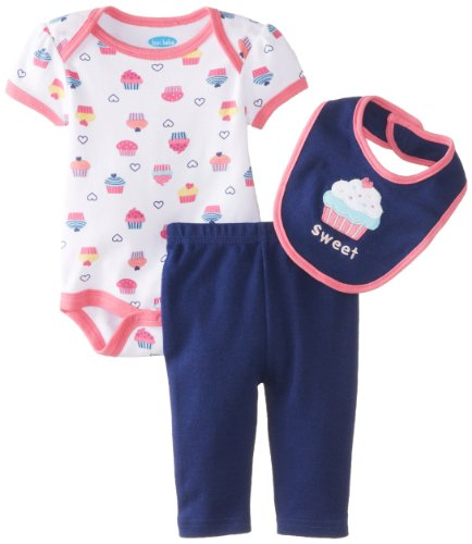 Bon Bebe Baby-Girls Newborn Sweet Cupcakes Bib Bodysuit And Legging Set, Multi, 6-9 Months front-1070976