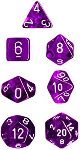 Chessex Manufacturing 23007 7-Die Polyhedral Set Purple With White Translucent