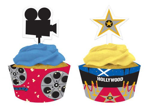 Creative Converting Reel Hollywood Cupcake Pick Decorations with Matching Baking Cup Wrappers, 12 Count - 1