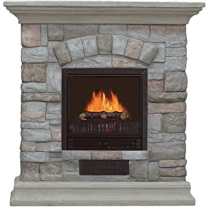 electric fireplace with mantel and multicolor