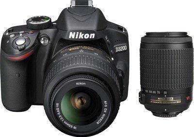 Nikon-D3200-242MP-Digital-SLR-Camera-Black-with-AF-S-18-55mm-VR-II-Kit-and-AF-S-DX-VR-Zoom-NIKKOR-55-200mm-f4-56G-IF-ED-Twin-Lens-8GB-Card-Camera-Bag