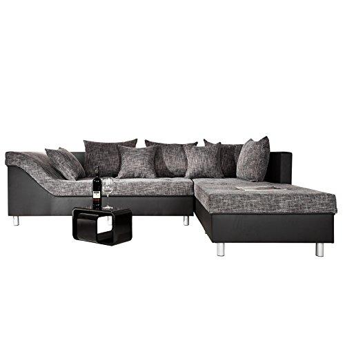 gro es ecksofa sultan schwarz strukturstoff schwarz ot rechts. Black Bedroom Furniture Sets. Home Design Ideas