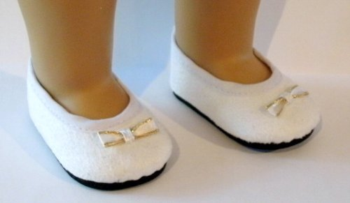 White Velvet Shoes for American Girl and Other 18-inch Dolls - 1