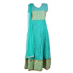 Noore Nazar Glitzy Blue Half sleeve Cotton net Hand Work Anarkali Dress