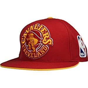 Cleveland Cavaliers Hardwood Classics Oversized Logo Fitted Hat 7 1 4 by Mitchell & Ness
