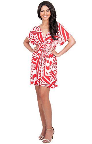Koh Koh Womens Sun Summer Mini Casual Chic Short Mini Dress Dresses - Small - Red and White Women 40 Casual Shorts