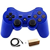 Molgegk Wireless Controllers for PS3 Playstation 3 Dualshock Six-axis,Bluetooth Remote Gaming Gamepad Joystick Includes USB Cable (Blue,Pack of 1) (Color: Blue)