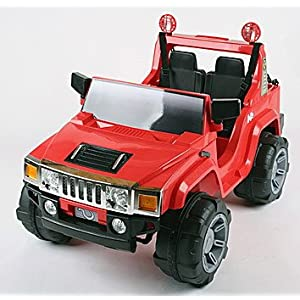 Kids Ride On Car Red HUMMER Style Electric Battery Toy 12v