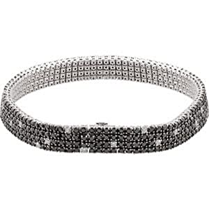 IceCarats Designer Jewelry 8 5/8 Ctw Or 7 Black And White Diamond Bracelet With Black Rhodium Plating