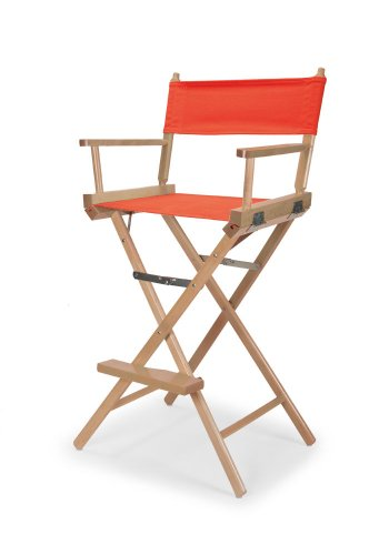 Telescope Casual Heritage Bar Height Director Chair, Orange with Varnish Frame