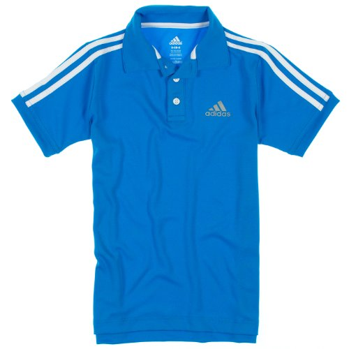 Adidas Boys 8-20 Short Sleeve Athletic Polo Shirt 14/16 Sky Blue/White front-981676