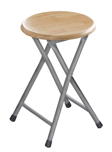 Premier Housewares Natural Rubberwood Folding Stool with Silver Legs - 45 x 30 x 30 cm