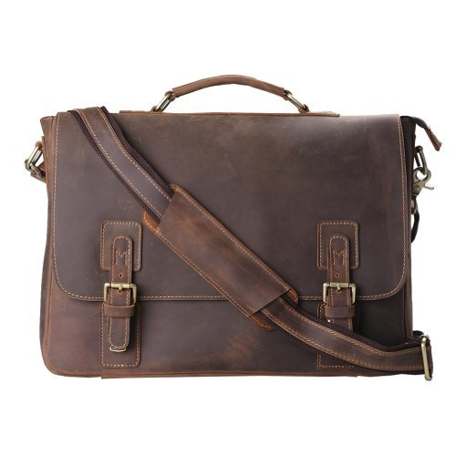 Kattee Mens Top Layer Real Cow Leather Shoulder Briefcase Attache 16 Inch Laptop Bag Tote