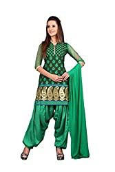 BanoRani Green Color Rapier Jacquard Self Design Unstitched Patiala Dress Material wieh Net Sleeves