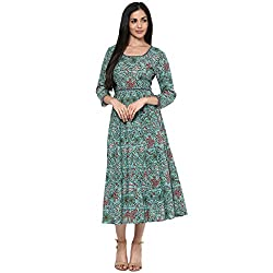Bhama Couture Pastel Green Allover Print Dress
