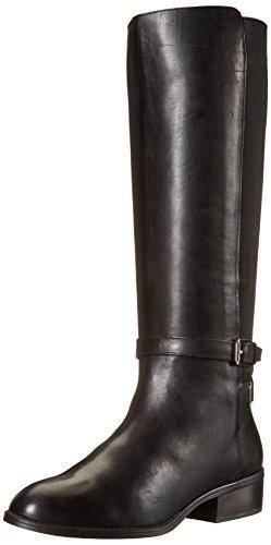 Lauren Ralph Lauren Women's Meranda Riding Boot, Black Burn Calf/Elastic, 8 B US