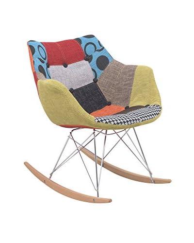 LeisureMod Willow Patchwork Eiffel Rocking Chair, Multi