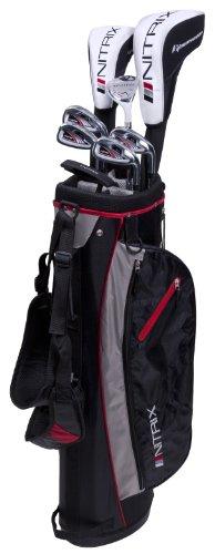 Pinemeadow Golf Men's Nitrix Pro Set Driver, 3 Wood, Hybrid, 6/7-PW Irons, Putter Bag (Right Hand, Graphite/Steel, Regular)