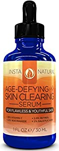 Vitamin C Serum 20% with Retinol 2.5%, Salicylic Acid 2%, Hyaluronic Acid, Niacinamide, Tea Tree Oil and MSM - Anti Aging AND Skin Clearing Serum for Face, Acne & Blemishes - Best For Men and Women For All Skin Types - Also Reduces Appearance of Fine Line
