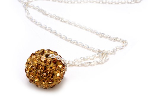Champagne Color Crystals Ball Pendant, Includes Sterling Silver 18 Inch Chain, Now At Our Lowest Price Ever but Only for a Limited Time!