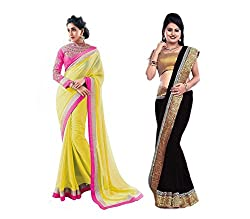 RockChin Fashions Yellow and Black Georgette Saree