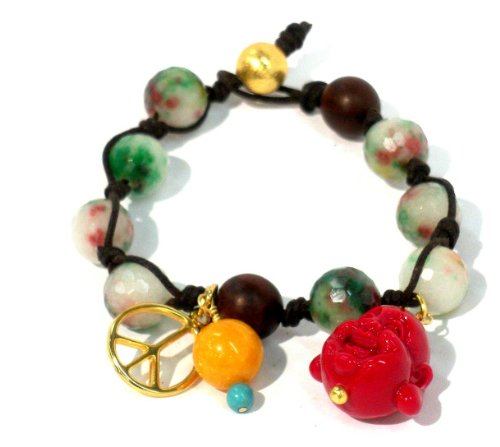 Knotted Bracelet Dark Brown Cord with 12mm Faceted Candy Jade Beads Roble Wood Beads Red Buddha Face and Gold Plated Peace Sign with 12mm Yellow Agate and 10mm Vermeil Bead Lock 7 Inches Unisex Handmade