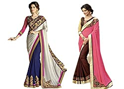 Pragya creations Women's Chiffon Saree (Prag22_Multi)-pack of 2