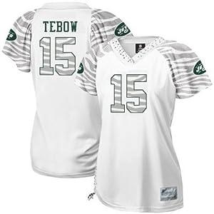 Women NFL Gear - Tim Tebow #15 New York Jets 2012 NFL Jersey Women's Zebra Field Flirt EQT White Football Jerseys (Logos, Name, Number are sewn) (XL)