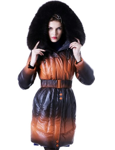 Maxchic Women's Fox Fur Trim Two-Tone Waterproof Shell Hooded Down Coat D93002S11M,black-orange,X-La..