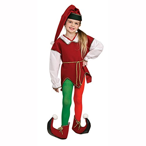 [Elf Red & Green Child Costume Tights Size: Small] (Green And Red Elf Costumes)