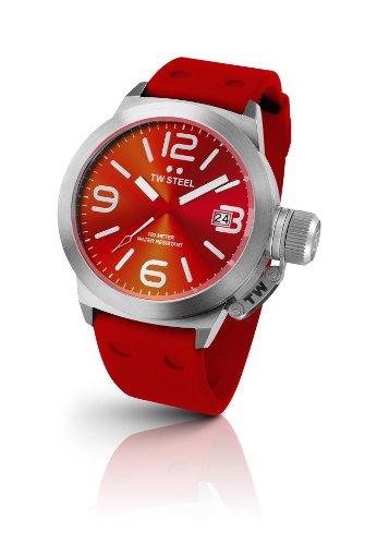 TW Steel - TW-510 - Montre Femme - Quartz Analogique - Bracelet Caoutchouc Rouge