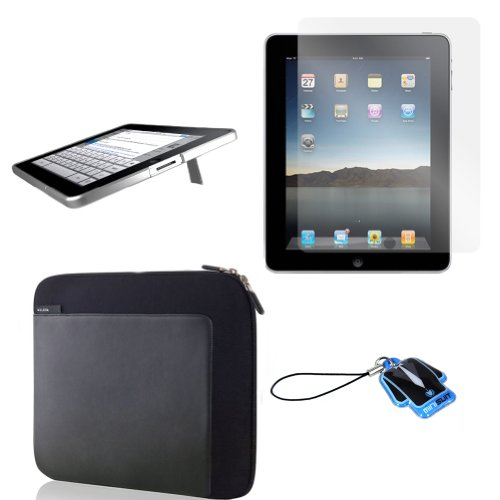 (Silver Kick) Apple iPad skin silicone case / leather case for iPad 3G cover neoprene sleeve case accessory bundle + screen protector + MiniSuit LCD Cleaner