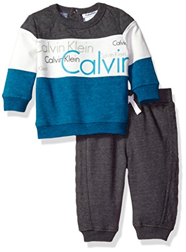 Calvin Klein Baby Pullover With Pants Set, Gray, 24 Months