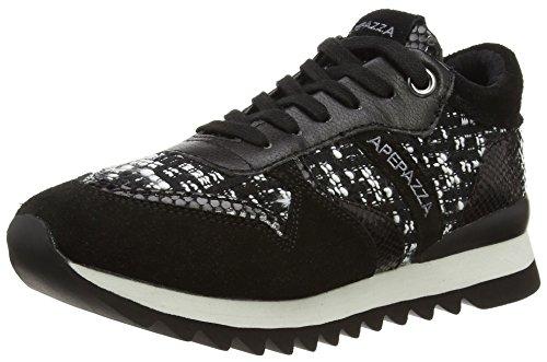 Apepazza DILETTA, Low-Top Sneaker donna, Nero (Schwarz (Nero/Bianco)), 36