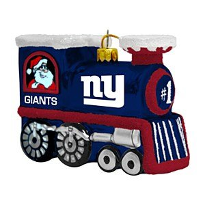NFL New York Giants Blown Glass Train Ornament