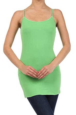 Women's Long Solid Spaghetti Strap Tank Top by BLVD Neon Green Small